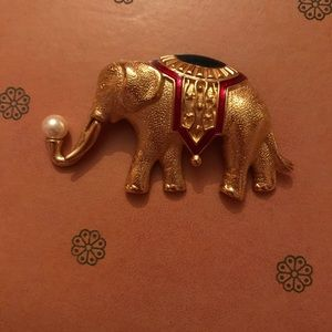Monet Gold Elephant Brooch